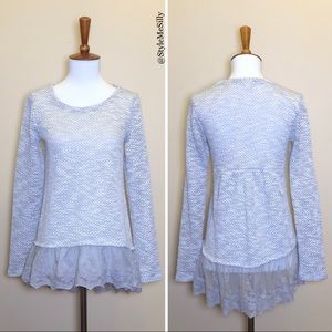 Eyeshadow gray shimmer sweater with lace hem